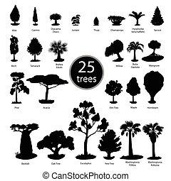 Trees silhouettes set