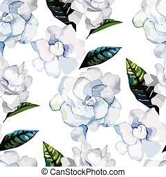Watercolor gardenia pattern - Watercolor gardenia. Floral...