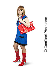 young woman holding a purse - Girl in blue dress ang red...