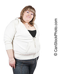 big girl - casualy dressed big girl. Isolated over white...