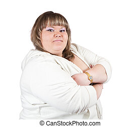 big girl - portrait of  big girl. Isolated over white