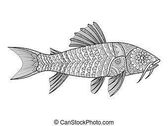 Armored catfish - Zendoodle stylized armored catfish for...