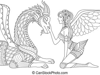 Fairy with dragon - Dragon is at mercy of beautiful angel,...