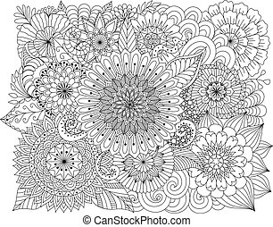 Flowers background - Hand drawn zentangle floral background...