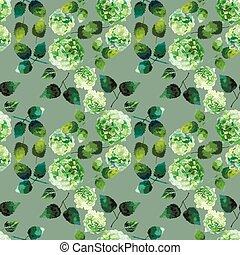 Watercolor hydrangea pattern - Watercolor green hydrangea....