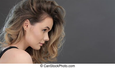 Side view of girls face - Side view of pretty caucasian girl...