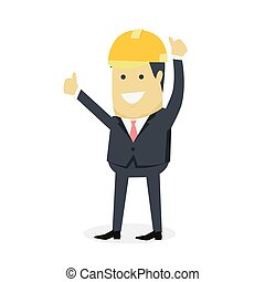 Businesman Show Gesture Thumb Up - Businesman show gesture...