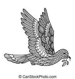 Dove - Zendoodle stylized of dove flying for design element