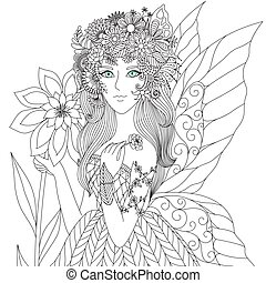 Fairy - Beautiful forest fairy for coloring book for adult