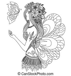 Fairy - Zentangle pretty girl looking at flying butterfly...