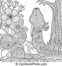 girl in the garden whimsical line art for coloring book for...