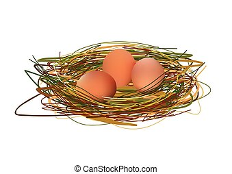Realistic Eggs In Nest. Vector Illustration Isolated On White Background Icon