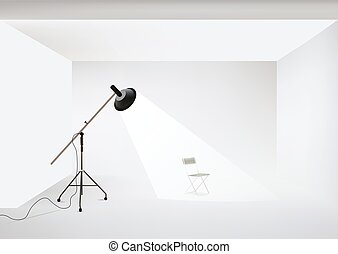 Vector photo studio with lighting equipment and chair -...