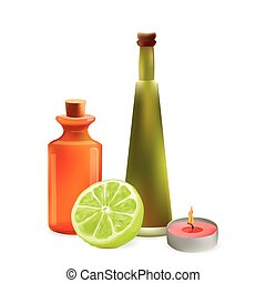 Glass Cosmetic Bottles and Candle with Lime Slice. Vector Isolated  Illustration. Template Elements for Cosmetic Shop, Spa Salon, Beauty Products Package, Medical Care Treatment.