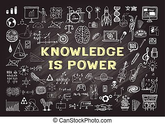 Knowledge is power - Hand drawn icons about KNOWLEDGE is...