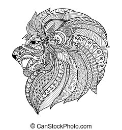 Lion King - Detailed zentangle stylized lion for T shirt...