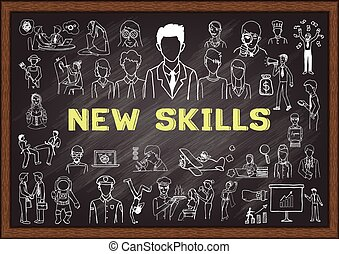 New skills - Hand drawn icons about NEW SKILLS on chalkboard