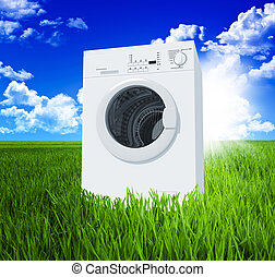 washing machine and green field with blue sky 3d background...