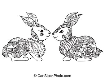 Rabbit couple - Two cute little rabbit line art design for...