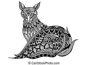 Red fox coloring book - Red fox zendoodle design for t-shirt...