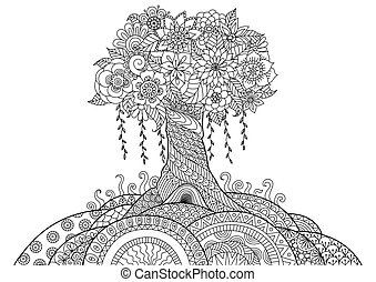 Tree - Abstract tree on the hill line art design for...