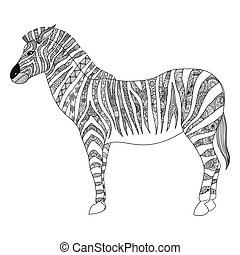 Zebra - Clean lines doodle art of zebra for adult coloring...