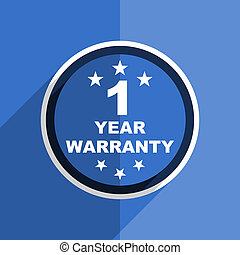 blue flat design warranty guarantee 1 year modern web icon -...