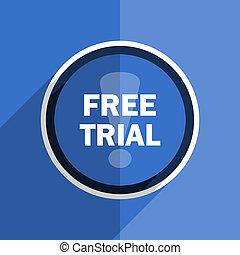 blue flat design free trial modern web icon
