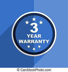 blue flat design warranty guarantee 3 year modern web icon -...