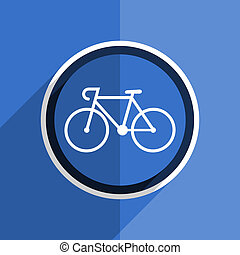 blue flat design bicycle modern web icon - flat design blue...