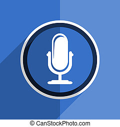blue flat design microphone modern web icon - flat design...