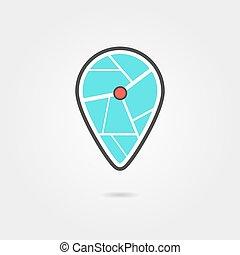 black and turquoise pin icon with shadow. concept of...