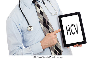 Doctor holding tablet - HCV - Doctor, isolated on white...