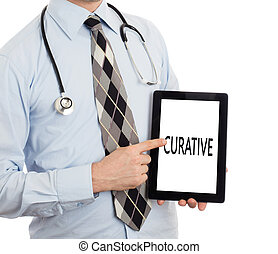Doctor holding tablet - Curative - Doctor, isolated on white...