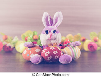 Easter bunny with eggs.
