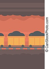 Background of underground tunnel with mining cart -...