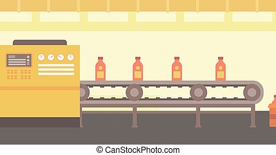 Background of conveyor belt with bottles. - Background of...