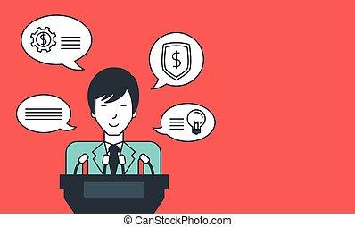 Businessman giving speech.