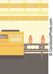 Background of conveyor belt with bottles - Background of...