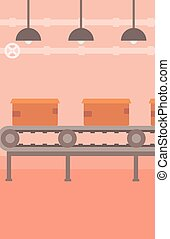 Background of conveyor belt with cardboard boxes -...