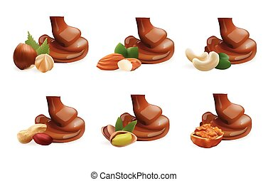 Vector Realistic Collection of Liquid Melted Pouring Chocolate and Different Nuts. Isolated on White Background