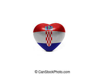 heart with national flag of croatia on the white background