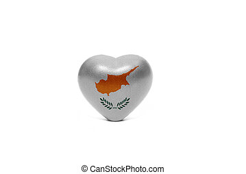 heart with national flag of cyprus on the white background