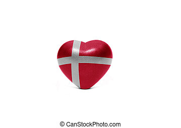 heart with national flag of denmark on the white background