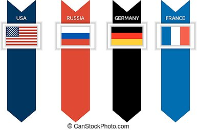 Infographic with 4 countries of G8 - USA, Russia, Germandy...