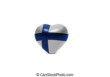 heart with national flag of finland on the white background