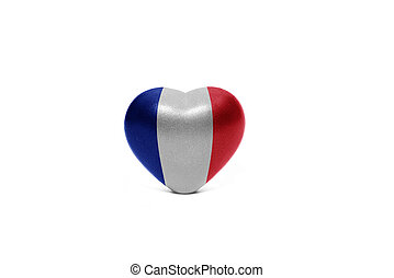 heart with national flag of france on the white background