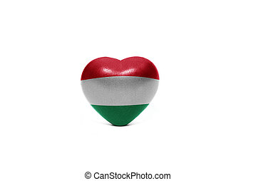 heart with national flag of hungary on the white background