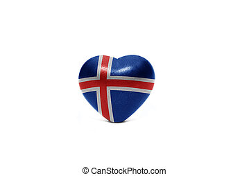 heart with national flag of iceland on the white background