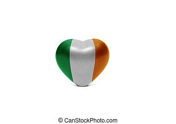 heart with national flag of ireland on the white background